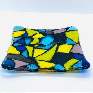 Fused Glass Mosaic Trinket Dish Hand Made 5""
